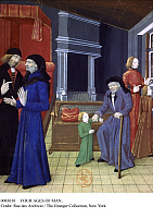 0083010 © Granger - Historical Picture ArchiveFOUR AGES OF MAN.   French manuscript illumination from 'Des proprietes des choses' by Barthelemy de Glanville, 15th century.