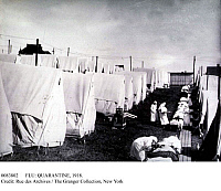 0083802 © Granger - Historical Picture ArchiveFLU: QUARANTINE, 1918.   Quarantine hospital set up at Lawrence, Massachusetts, during the influenza epidemic of 1918.