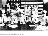 0083803 © Granger - Historical Picture ArchiveFLU: UNITED STATES, 1918.   Red Cross volunteers in America working to prevent the influenza epidemic of 1918 from spreading to American soldiers in World War I.