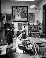 0085102 © Granger - Historical Picture ArchiveKAHLO AND RIVERA, 1945.   Mexican artists Frida Kahlo (1907-1954) and Diego Rivera (1886-1957) in their studio. Photograph, 1945.