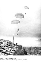 0085387 © Granger - Historical Picture ArchiveDIEN BIEN PHU, 1954.   French paratroopers landing at Dien Bien Phu during the French Indochina War. Photographed 23 March 1954.