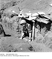 0085388 © Granger - Historical Picture ArchiveDIEN BIEN PHU, 1954.   French soldier in one of the dugouts at Dien Bien Phu before the battle against Viet Minh forces during the French Indochina War. Photographed early 1954.