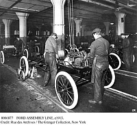 0086877 © Granger - Historical Picture ArchiveFORD ASSEMBLY LINE, c1913.   The assembly line at the Ford automobile plant in Highland Park, Michigan, c1913.