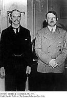 0087335 © Granger - Historical Picture ArchiveHITLER & CHAMBERLAIN, 1938.   British Prime Minister Neville Chamberlain (left) photographed with German Chancellor Adolf Hitler at Godesberg, Germany, 22-23 September 1938, where they discussed possibilities for a peaceful resolution to the crisis over the Sudetenland involving Germany and Czechoslovakia.
