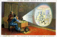 0087484 © Granger - Historical Picture ArchiveVIDEOPHONE ILLUSTRATION.   'This is how our descendents will live in the year 2012!' Illustration depicting a videophone, c1900.