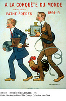 0087493 © Granger - Historical Picture ArchivePATHÉ FRÈRES POSTER, 1898.   1898 poster by Adrien Barrere for brothers Charles and Emile Pathé, French engineers and cinema producers. Shown carrying a projector and a phonograph. The rooster in the poster is their trademark.