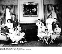 0087524 © Granger - Historical Picture ArchiveJOHN F. KENNEDY (1917-1963).   35th President of the United States. Photographed (3rd from left) with his family at Washington, D.C., in 1937. From left: Father Joseph P. Kennedy and sisters Patricia, Jean, and Eunice. From right: Mother Rose Fitzgerald Kennedy, brother Joseph Jr., sister Rosemary, brother Edward, sister Kathleen, and brother Robert.