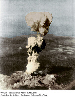 0088219 © Granger - Historical Picture ArchiveHIROSHIMA: ATOM BOMB, 1945.   The mushroom cloud of the atomic bomb over Hiroshima, Japan, 6 August 1945.
