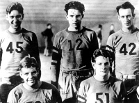0089171 © Granger - Historical Picture ArchiveRICHARD NIXON (1913-1994).   37th President of the United States. Nixon (center, number 12) photographed as a member of the Whittier College football team, early 1930s.