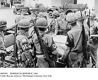 0089295 © Granger - Historical Picture ArchiveDOMINICAN REPUBLIC, 1965.   American Military Police Captain Donald M. Gallagher briefs Honduran and U.S. troops on the routes they will patrol as members of the Inter-American Peace Force in the Dominican Republic, following the Junta revolution of May 1965.
