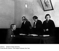 0089723 © Granger - Historical Picture ArchiveSOVIET UNION: PURGES.   A defendant being sentenced by a popular tribunal during the Stalinist purges, orchestrated by Soviet dictator Joseph Stalin against alleged Trotskyists and political opponents during the 1930s.