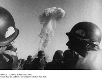 0093921 © Granger - Historical Picture ArchiveATOMIC BOMB TEST, 1951.   American troops watching a nuclear bomb test in Nevada, 1951.