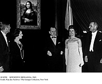 0101290 © Granger - Historical Picture ArchiveKENNEDYS: MONA LISA, 1962.   President John F. Kennedy (far left) and First Lady Jackie Kennedy (white dress) receive Andre Malraux (center) and his second wife Madeleine for the Mona Lisa exhibition at the National Gallery in Washington, D.C.; at far right is Vice President Lyndon Johnson. Photographed January 1963.