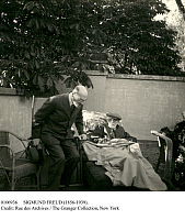 0106936 © Granger - Historical Picture ArchiveSIGMUND FREUD (1856-1939).   Austrian neurologist and founder of psychoanalysis. Freud (right) resting at the villa of his friend, Princess Marie Bonaparte, in Paris, France, 5 June 1938, before departing for London, England. At left is Prince Valdemar of Denmark. Photographed by Marie Bonaparte's daughter, Princess Eugènie of Greece.