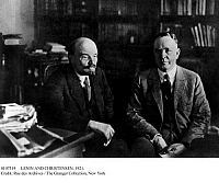 0107319 © Granger - Historical Picture ArchiveLENIN AND CHRISTENSEN, 1921.   Russian Communist leader Vladimir Ilich Lenin (left) photographed in his office at the Kremlin in Moscow with visiting American Farmer-Labor politician Parley Parker Christensen, 28 November 1921.