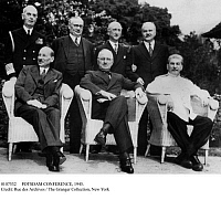 0107532 © Granger - Historical Picture ArchivePOTSDAM CONFERENCE, 1945.   Allied leaders at the Potsdam Conference in Germany, July-August 1945. Seated from left: British Prime Minister Clement Attlee, U.S. President Harry Truman, Soviet Premier Joseph Stalin. Standing from left: Admiral William Leahy, Foreign Secretary Ernest Bevin, Secretary of State James Byrnes, Foreign Minister Vyacheslav Molotov.