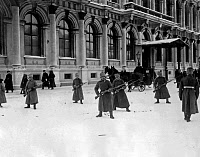 0107610 © Granger - Historical Picture ArchiveRUSSIAN REVOLUTION, 1917.   Soldiers of the Russian Imperial Guard in position outside the Winter Palace in Petrograd during the February Revolution (March 1917).