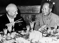 0107741 © Granger - Historical Picture ArchiveKHRUSHCHEV AND MAO, 1959.   Soviet Premier Nikita Krushchev (left) photographed at a dinner in Beijing with Mao Tse-tung, Chairman of the Chinese Communist Party, on the occasion of the 10th anniversary of the People's Republic of China, October 1959.