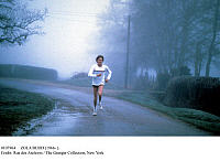 0107964 © Granger - Historical Picture ArchiveZOLA BUDD (1966- ).   South African athlete. Photographed c1985 while running in England, where she had obtained citizenship the previous year in order to participate in the 1984 Summer Olympic Games in Los Angeles (South Africa was banned from international sports competition at the time in protest of its racial apartheid policies).