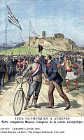 0107979 © Granger - Historical Picture ArchiveOLYMPIC GAMES, 1896.   French cyclist Paul Masson being congratulated by a compatriot after winning an event at the first modern Olympic Games, held in Athens in 1896. Contemporary illustration from the French newspaper 'Le Petit Journal.'