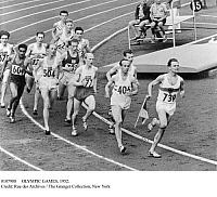 0107988 © Granger - Historical Picture ArchiveOLYMPIC GAMES, 1952.   Werner Lueg of West Germany leads the field in the 1,500 meter event at the 1952 Olympic Games in Helsinki. Immediately behind Lueg is Joseph 'Josy' Barthel of Luxembourg, who won the event.