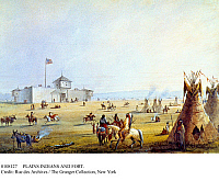 0108127 © Granger - Historical Picture ArchivePLAINS INDIANS AND FORT.   Oglala Sioux encampment outside the trading post at Fort William, near the eventual site of Fort Laramie, Wyoming, 1837. Lithograph, 19th century, after a painting, c1840, by Alfred Jacob Miller.