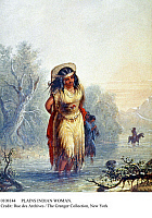 0108144 © Granger - Historical Picture ArchivePLAINS INDIAN WOMAN.   An American Indian woman of the Great Plains wading across a river with her papoose on her back. Lithograph, 19th century.