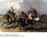 0108317 © Granger - Historical Picture ArchiveBODMER: SIOUX HORSE RACE.   Sioux Indians racing horses near Fort Pierre, South Dakota. Aquatint engraving, c1844, after a drawing, c1833, by Karl Bodmer.