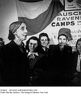 0108415 © Granger - Historical Picture ArchiveDEATH CAMP SURVIVORS, 1945.   A woman speaking at an event in France for welcoming survivors of the Nazi concentration camps at Ravensbrück and Auschwitz, organized by the Union of French Women, c1945.
