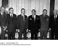 0109047 © Granger - Historical Picture ArchiveSALT II SUMMIT, 1979.   Soviet and American officials photographed at a dinner at the American embassy in Vienna, Austria, during the SALT II summit on limiting strategic nuclear weapons, 16 June 1979. From left: Cyrus Vance, Andrei Gromyko, Jimmy Carter, Leonid Brezhnev, Dimitry Ustinov, and Konstantin Chernenko.