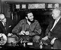 0109111 © Granger - Historical Picture ArchiveCASTRO & KHRUSHCHEV, 1960.   Cuban Premier Fidel Castro (center) conferring with Soviet Premier Nikita Khrushchev at the United Nations in New York City, 20 September 1960. At left is Ahmed Tewfik el Madani, a minister in the Algerian nationalists' government-in-exile.