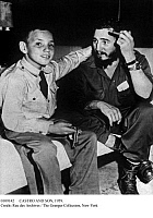 0109142 © Granger - Historical Picture ArchiveCASTRO AND SON, 1959.   Cuban revolutionary leader Fidel Castro reunited with his son, Fidelito, at the Hotel Hilton in Havana, 14 February 1959, at the time of Fidelito's return to Cuba after having lived in the United States during the revolution against the government of Fulgencio Batista.