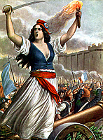 0109146 © Granger - Historical Picture ArchiveFRENCH REVOLUTION, 1789.   Marianne at the storming of the Bastille in Paris on 14 July 1789. French illustration, 1930s.