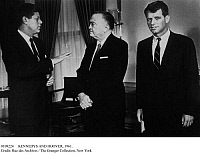 0109224 © Granger - Historical Picture ArchiveKENNEDYS AND HOOVER, 1961.   U.S. President John F. Kennedy (left) speaking with F.B.I. director J. Edgar Hoover at the White House in Washington, D.C., 28 February 1961. Attorney General Robert Kennedy, the President's brother, stands at right.