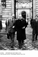 0109280 © Granger - Historical Picture ArchiveMITTERRAND AND FABIUS, 1984.   French President François Mitterrand (right) and Prime Minister Laurent Fabius photographed outside the Hôtel Matignon in Paris following a meeting of the Council of Ministers, 19 December 1984.