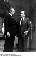 0109303 © Granger - Historical Picture ArchiveMITTERRAND AND SOARES.   Portuguese President Mario Soares (left) photographed with French President François Mitterrand at the Elysée Palace in Paris, late 1980s.