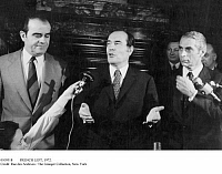 0109318 © Granger - Historical Picture ArchiveFRENCH LEFT, 1972.   From left: Georges Marchais, François Mitterrand, and Robert Fabre--leaders, respectively, of the French Communist, Socialist, and Left Radical parties--speaking to the press at the Intercontinental Hotel in Paris after signing the Common Program of the Left, 12 July 1972.