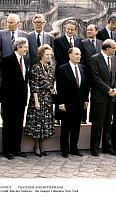 0109335 © Granger - Historical Picture ArchiveTHATCHER AND MITTERRAND.   British Prime Minister Margaret Thatcher and French President François Mitterrand (middle of front row) photographed at a meeting at the Chateau de Fontainebleau in France, June 1984. Sir Geoffrey Howe, the British Foreign Secretary, stands behind Thatcher.