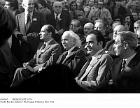 0109343 © Granger - Historical Picture ArchiveFRENCH LEFT, 1974.   Leftist leaders photographed at a gathering in Paris at the time of the French presidential elections, 25 April 1974. Seated from left: François Mitterrand of the Socialst Party, writer Louis Aragon and Georges Marchais of the Communist Party, and Robert Fabre of the Left Radical Party.