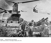 0109683 © Granger - Historical Picture ArchiveVIETNAM WAR: HELICOPTER.   An American Chinook cargo helicopter takes off after unloading an artillery gun for use by U.S. troops during the Vietnam War, c1967.