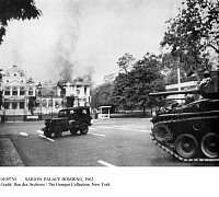 0109730 © Granger - Historical Picture ArchiveSAIGON: PALACE BOMBING, 1962.   South Vietnamese military vehicles take position outside the presidential palace in Saigon after it had been bombed by two renegade air force pilots opposed to the government of President Ngo Dinh Diem, 27 February 1962.