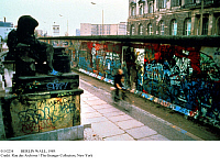 0110234 © Granger - Historical Picture ArchiveBERLIN WALL, 1989.   A section of the wall, covered with graffiti, seen from West Berlin, 1989. The wall was opened 9 November 1989.