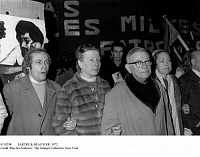 0110298 © Granger - Historical Picture ArchiveSARTRE & BEAUVOIR, 1972.   Jean-Paul Sartre, right, and Simone de Beauvoir at a demonstration at the Charonne Metro station in Paris, 29 February 1972, protesting the killing of a young man. The station was the site of the 1961 massacre of demonstrators, mostly of Algerian origin, against the Algerian War.