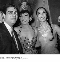 0110316 © Granger - Historical Picture ArchiveJOSEPHINE BAKER (1906-1975).   American entertainer. Josephine Baker, center, with French singer Enrico Macias and American dancer Carmen de Lavallade at the Olympia music hall in Paris after a performance of the show 'April in Paris,' 24 April 1964.