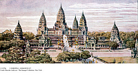 0110786 © Granger - Historical Picture ArchiveCAMBODIA: ANGKOR WAT.   A reconstruction of Angkor Wat, the great 12th-century temple of the Khmer Empire in Cambodia, from the Colonial Exposition in Paris, France, 1931. Watercolor by Henri Blanche.