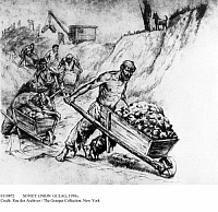 0110872 © Granger - Historical Picture ArchiveSOVIET UNION: GULAG, 1930s.   Prisoners at work in a Soviet gulag. Drawing, 1930s.