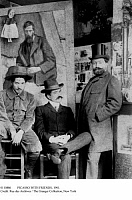 0110886 © Granger - Historical Picture ArchivePICASSO WITH FRIENDS, 1901.   Spanish painter and sculptor Pablo Picasso (left) photographed in his studio at 130 Boulevard de Clichy in Paris, France, in 1901, with his art dealer, Petrus Manach (center), and Torres Fuentes, in front of a portrait of Francisco Gonzales de Iturrino.
