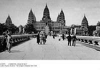 0110955 © Granger - Historical Picture ArchiveCAMBODIA: ANGKOR WAT.   Tourists visiting a reconstruction of Angkor Wat, the great 12th-century temple of the Khmer Empire in Cambodia, at the Colonial Exposition in Paris, France, 1931. Postcard photograph.