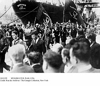 0111129 © Granger - Historical Picture ArchiveSPANISH CIVIL WAR, 1936.   Citizens hailing the 'Ziryanin,' the first Soviet ship to bring supplies to the Republican forces in Barcelona, October 1936.