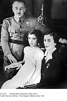 0111172 © Granger - Historical Picture ArchiveFRANCISCO FRANCO (1892-1975).   Spanish soldier and dictator. With his wife Doña Carmen Polo de Franco, and their daughter Carmencita in 1936, during the Spanish Civil War.